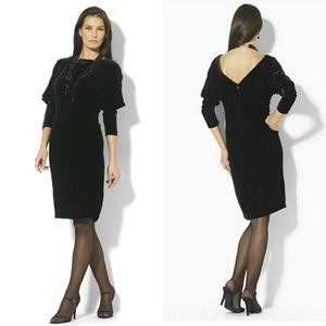 New! RALPH LAUREN Velvet V-back Black Dress